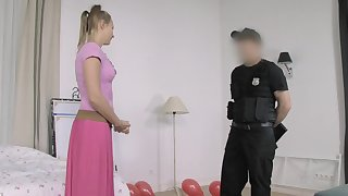 Fake Hub - Cop Fucks Pigtailed Home Alone Lady