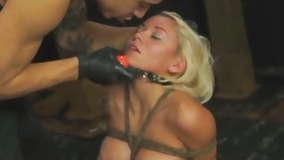 Bibi completely tied and abused with toy and cock