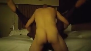 Spreading wide for white cock