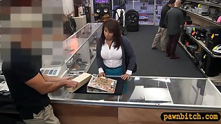 Brunette MILF gets pounded by pawn man