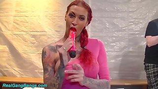 dutch pornstar Carlisi in a real gangbang