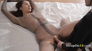Luxury babes with strapon in delicate