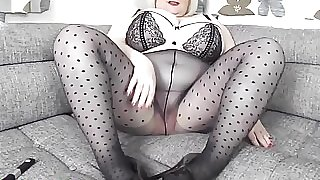 Granny Sally masturbates in nylon
