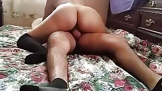 Hot girl in lingerie rides her boyfriend