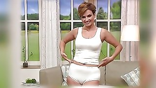 Mature model cameltoe on TV shop. Underwear