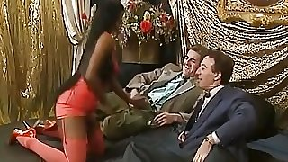 African babe takes two white schlongs in threesome