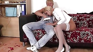 Rough sex with office blonde in white stockings