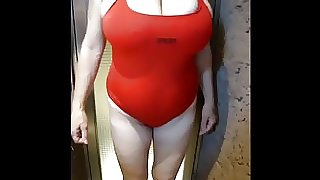 Granny in red swimsuit