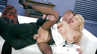 Boss's daughter fucked in the office by the new guy