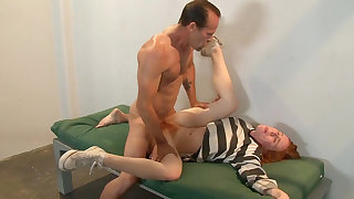 Yoiung redhead roughly fucked in her prison cell