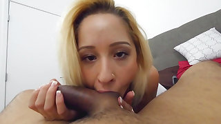 Intense sex in POV mode along cock sucking bimbo Goldie Rush
