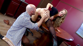Top milf enjoys office sex with the boss when alone