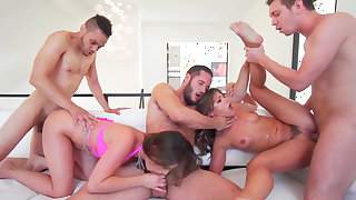 Mind blowing group fuck along two insolent whores in heats
